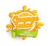 Orange juice natural label splash. Stock Image
