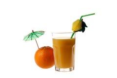 Orange juice and orange. On white background, photo, umbrella,tubule Stock Photo
