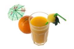 Orange juice and orange. On white background, photo, umbrella,tubule Stock Image