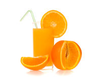 Orange juice of orange. Isolated on white background Stock Images