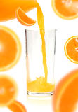 Orange juice of orange. Isolated on white background Stock Photo