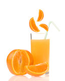 Orange juice of orange. Isolated on white background Royalty Free Stock Image