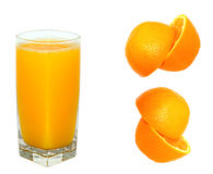 Orange juice and orange. Isolated on white Stock Photography