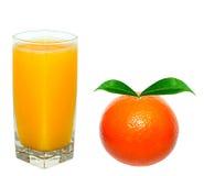 Orange juice and orange. Isolated on white Royalty Free Stock Photography