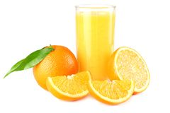 Orange juice with orange and green leaf isolated on white background. juice in glass Royalty Free Stock Photos