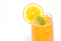 Orange juice and orange slice Royalty Free Stock Photos