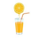Orange juice and orange slice. Natural orange juice and orange slice squeezing in glass. Color vector illustration isolated on white background vector illustration
