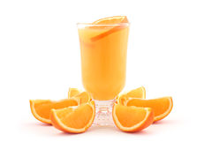 Orange juice and orange slices. Fresh orange juice and orange slices isolated on white royalty free stock photo
