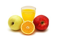Orange juice, orange and two a Royalty Free Stock Photos