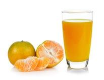 Orange juice and orange  on white background Royalty Free Stock Image