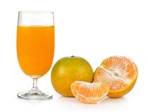 Orange juice and orange on white background Stock Photo