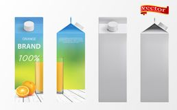 Orange juice packaging design. Orange juice template packaging design vector illustration. Juice white carton package stock illustration