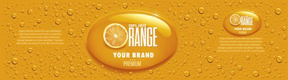 Orange juice packaging with many juice drops and orange slice. Orange juice packaging with juice drops and orange slice stock illustration
