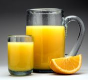 Orange juice with pitcher Stock Photo