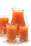 Orange juice pitcher and glasses Royalty Free Stock Photography