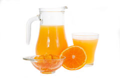 Orange juice in pitcher and orange jam Royalty Free Stock Photography