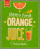 Orange Juice Poster de vintage. Photo stock