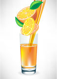 Orange juice pouring in glass Stock Photo