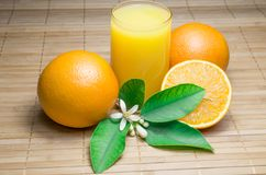 Oranges on a wooden table royalty free stock image
