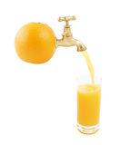 Orange juice pouring isolated Stock Photo