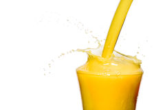 Orange juice is pouring on a white background Stock Images