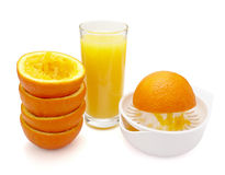 Orange juice preparation fruit Stock Photo