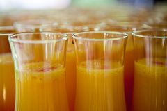 Orange juice with red liqueur in tall glasses on a tray royalty free stock images