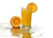 Orange juice, reflection, wave Stock Photography