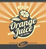 Orange juice retro ad concept. Vector label illustration for 100% natural product. Vintage fresh drink graphic design poster. Fruit and leaf Royalty Free Illustration