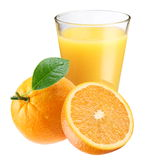Orange juice with ripe orange Stock Images