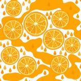 Orange juice. Seamless background with orange slices. Stock Photography