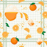 Orange Juice Seamless Pattern. Repeatable food composition with whole and segmented oranges, juice in pitcher and in glasses, on checked background Royalty Free Stock Photo