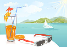 Orange juice and seascape Royalty Free Stock Images