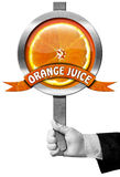 Orange Juice - Sign with Hand of Chef Stock Image
