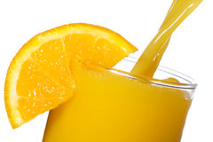 Orange juice with slice of orange Stock Images