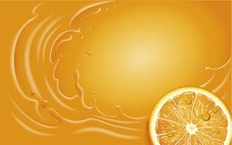 Orange juice slice and orange splash with many juice drops. Orange juice slice and orange splash Stock Illustration
