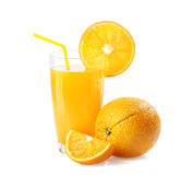 Orange juice and slices Stock Images