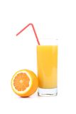 Orange juice and slices Royalty Free Stock Photos