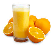 Orange juice and slices isolated Stock Image