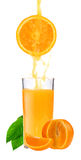Orange juice and slices of orange. Isolated on white Royalty Free Stock Photography