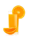 Orange juice and slices of orange stock images
