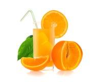 Orange juice and slices of orange royalty free stock photos