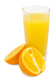 Orange juice and slices of orange Stock Image