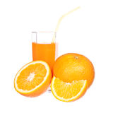 Orange juice and slices of orange Stock Photos