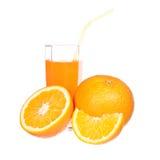 Orange juice and slices of orange Stock Photos