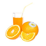 Orange juice and slices of orange Stock Images