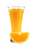 Orange juice with slices of orange in the glass isolated Stock Photos