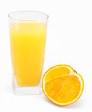 Orange juice and slices of orange isolated Stock Photos