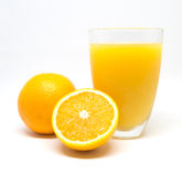 Orange juice and slices orange isolated on white background Stock Photos