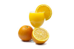 Orange juice and slices of orange isolated on white. For fruit juice for a healthy life Royalty Free Stock Photography